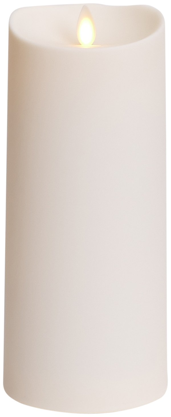 Luminara Outdoor Flameless Candle: Plastic Finish, Unscented Moving Flame Candle with Timer (9'' Ivory)