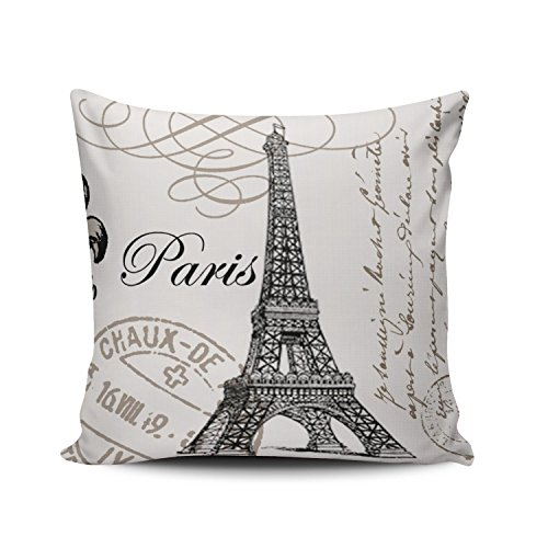 (Hoooottle Custom Luxury Funny Black and White Paris Eiffel Tower Stamp Square Pillowcase Zippered One Side Printed 18x18 Inches Throw Pillow Case Cushion Cover)