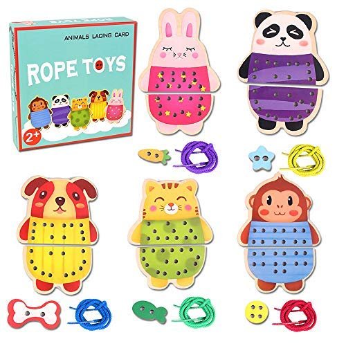 g Cards Rope Toys, 5 Wooden Panels and 5 Matching Laces Threading Toy, Farm Zoo Animal Lace and Trace Activity Set, Enhance Motor Skills Games for Kids Aged 2 + Years Old ()