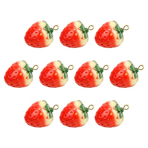 JETEHO 10Pcs Strawberry Charms, Dangle Charm Beads Strawberry Shaped Charm Pendants Beads for Making Necklace Bracelet Earrings