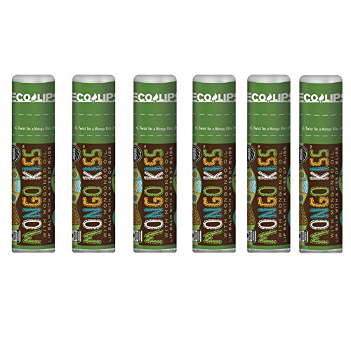 Lip Balm Mongo Kiss 6-Pack (6 Tubes) by Eco Lips 100% Organic Beeswax & Cocoa Butter Lip Care with Organic Mongongo Oil - Soothe & Moisturize Dry & Cracked Lips - Made in USA. (Peppermint)