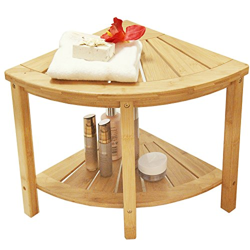 Cheap  Corner Shower Bench with 2-Tier Storage Shelf,Deluxe Bamboo Shower Bench Bath Stool..