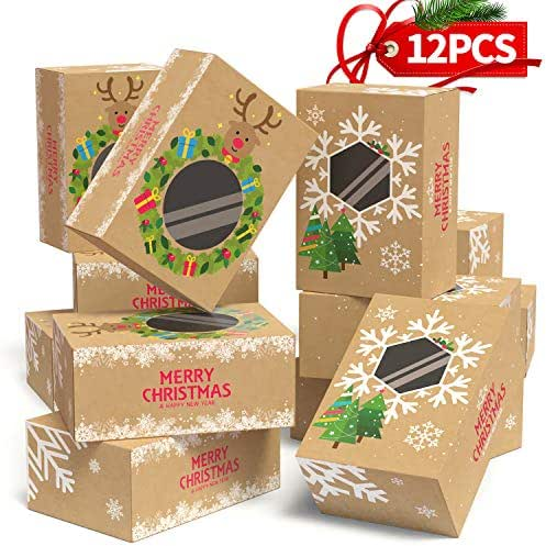 12PCS Christmas Cookie Boxes Large for Gift Giving Packaging Holiday Christmas Food, Bakery Treat Boxes with Window, Candy and Cookie Boxes from KD KIDPAR