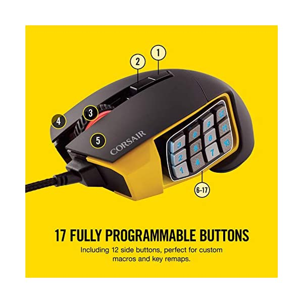 Corsair Scimitar Pro RGB - MMO Gaming Mouse - 16,000 DPI Optical Sensor - 12 Programmable Side Buttons - Yellow