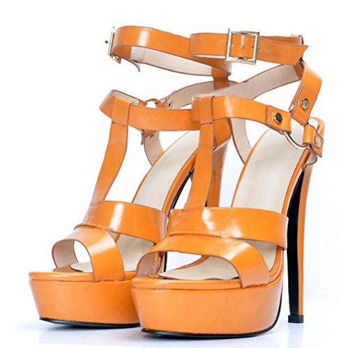 YCMDM Women's Sandals Stiletto Heel PU Open toe Nightclub Party Evening Office Career Fashion Shoes , 40 , orange