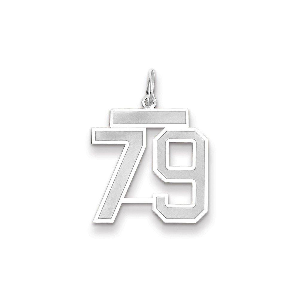 14K White Gold Medium Satin Number 79 Charm