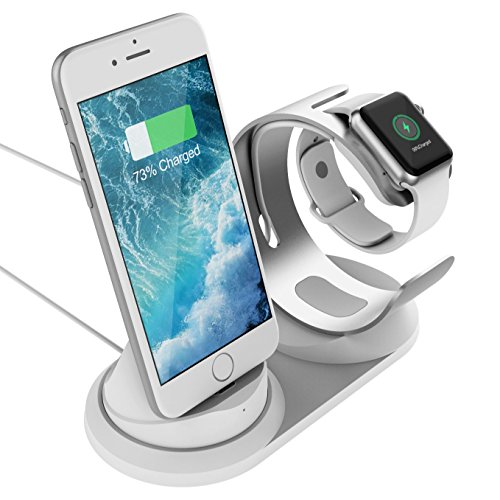 Charging Stand Apple Watch iPhone - 2 in 1 Aluminum iWatch Charging Station iPhone Dock Compatible Apple Watch Series 3/2 / 1 iPhone X / 8/8 Plus / 7 / 7Plus - Silver by sincetop