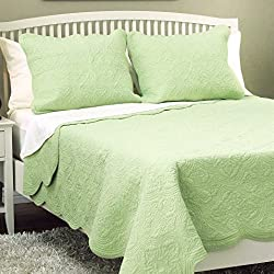 Cozy Line Home Fashions 100% Cotton Solid Green Victorian Medallion Embossed Bedding Quilt Set,Coverlet,for Bedroom/Guest Room (Blantyre - Green, Queen - 3 Piece)