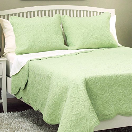 Cozy Line Home Fashions Victorian Medallion Solid Green Matelasse Embossed 100% Cotton Bedding Quilt Set,Coverlet,for Bedroom/Guest Room (Blantyre - Green, Twin - 2 Piece) - Medallion 2 Line