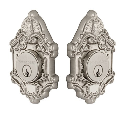 Nostalgic Warehouse 733020 Victorian Plate Double Cylinder Deadbolt Victorian Door Knob In Satin Nickel,