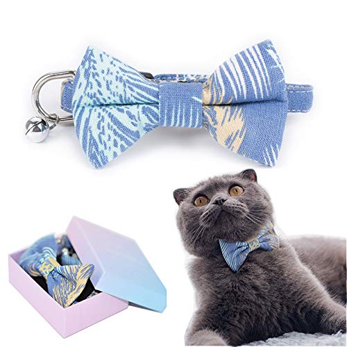 - M-YOUNG Pet Soft &Comfy Bowtie Dog Collar and Cat Collar Pet Gift for Dogs and Cats 2 Size and 9 Patterns (S:Neck 4.3''-8.7''(11-22cm), Blue Leaf)