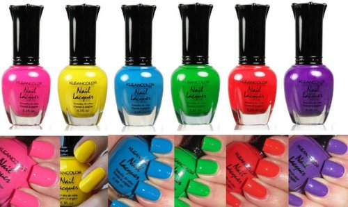 Amazon.com : Kleancolor Neon Nail Lacquer 6 Colors Set : Nail Polish ...