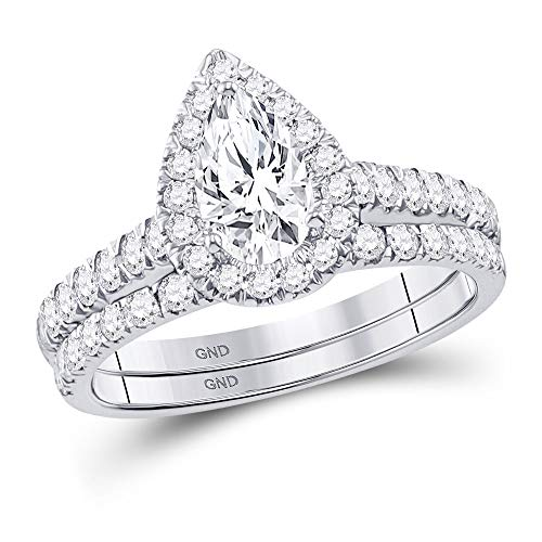 Diamond Pear Engagement Ring + Wedding Band Bridal Set 1-1/2ct 14k White Gold (Best Setting For A Pear Shaped Diamond)