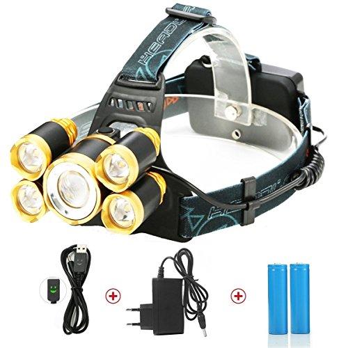 LED Headlamps, Super Bright 5 CREE LED 8000 Lumens Rechar...