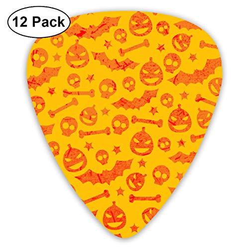 Hello Halloween Bat Pumpkin 351 Shape Classic Celluloid Guitar Pick For Electric Acoustic Mandolin Bass (12 Count)]()