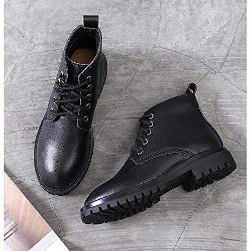 HSXZ Zapatos de mujer moda otoño invierno auténtico cuero botas botas planas botas de tacón puntera redonda Mid-Calf for casual Negro Marrón Black