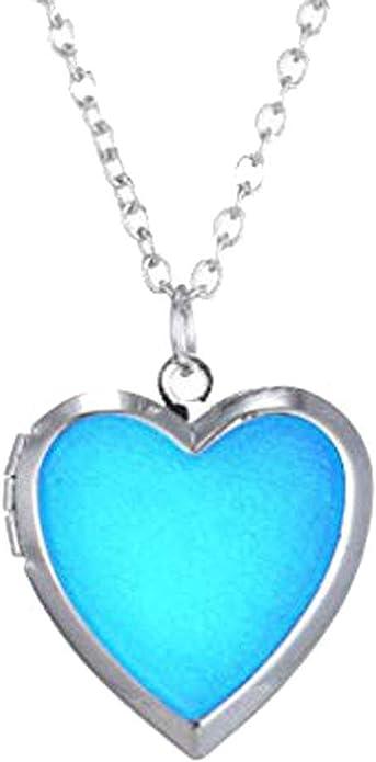CliPons Heart Locket Color Change Charm Necklace Mood Pendant Quote Love