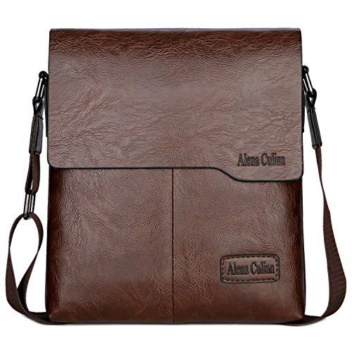 Shoulder Bag Business Man Bag Messenger Bag for Men Crossbody Bag(brown)