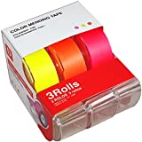 Neon Invisible Transparent Magic Tape: 2-Pack of 3 Colors with Dispensers, Fun for Crafts, Office, School, Gift Wrapping, Scrapbooking, Writable Surface. Fluorescent Pink, Orange and Yellow.