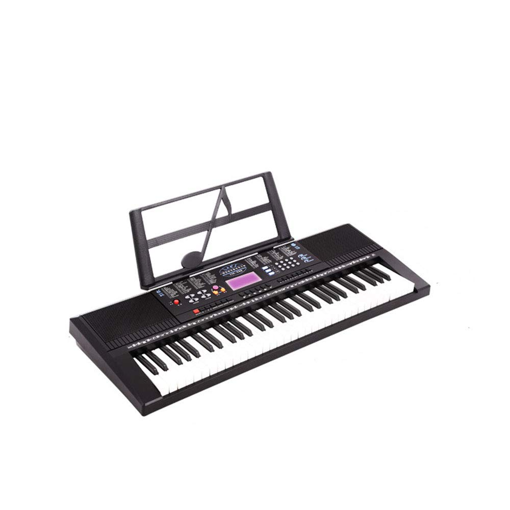 C Five 61-Key Portable Electric Keyboard Piano with Power Supply, Sheet Music Stand and Simply Piano App(Black)