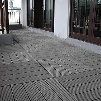 Outdoor Floor Wood Plastic Composite Tile For Balcony Courtyard