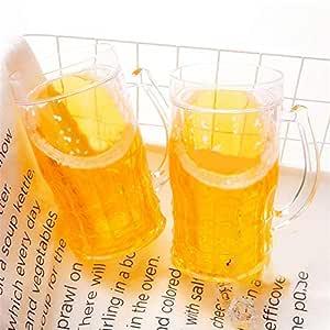 WUYANSE Juego de 2 Vasos de Cerveza, Tazas para congelador con asa ...