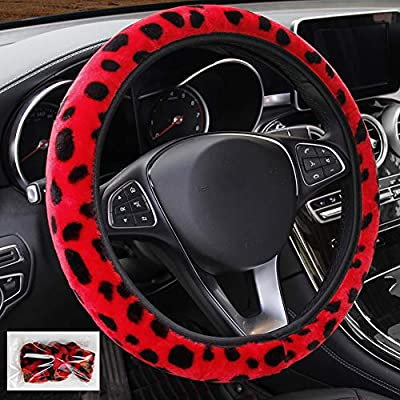 seemehappy Fluffy Leopard Print Elastic Car Steering Wheel Cover Anti-Slip Warm Steering Wheel Cover Fit for 14inch - 15inch (Red): Automotive