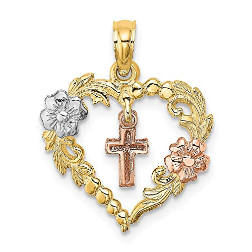 14k Tri Color Yellow White Gold Heart Dangle Cross Religious Flowers Pendant Charm Necklace Latin Fine Jewelry Gifts For Women For Her