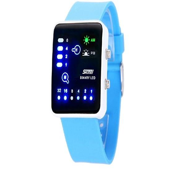 Reloj Digital LED para Hombre y Mujer Impermeable Reloj de Pulsera Elegante Amantes Sk-005-0890: Amazon.es: Relojes