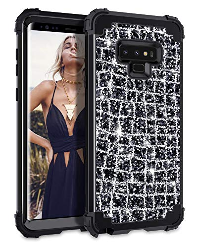 Hekodonk Compatible Galaxy Note 9 Case, 3D Luxury Sparkle Glitter Shiny Heavy Duty Shockproof Full-Body Protective Cover High Impact Armor Hybrid Case for Samsung Galaxy Note 9 (Bling Black)