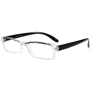 d14798ef77f VEVESMUNDO Reading Glasses Men Women Rimless Modern Transparent Clear  Eyeglasses (BLACK