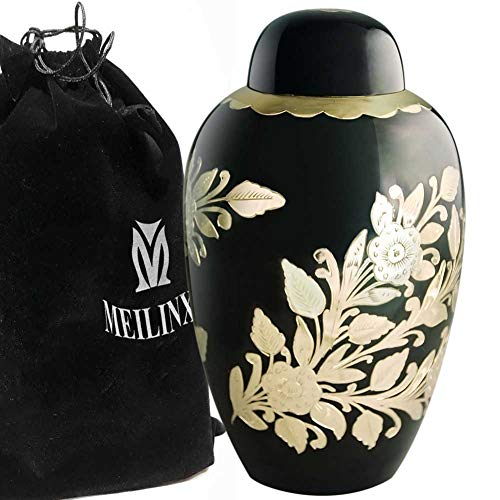 Golden Urn - Funeral Urn for Ashes Adult -Cremation Urns for Human Ashes Adult or Pet - Design is Hand Engraved in Brass - Display Burial Urn At Home or in Niche at Columbarium (Golden Garden, Large Keepsake Urn