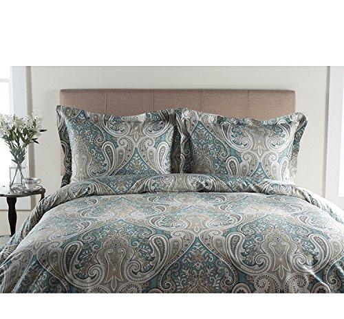 Duvet Set, Damask Flowers, Floral Bohemian Themed Bedding, Paisley Pattern, Vibrant Colors, Aqua Blue Grey Prints, Indie Hippy Spirit, Flower Medallion Kashmir Boho Chic ()