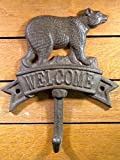Best GENERIC Wooden Hearts Gift Garden Friends Hearts - BEAR WELCOME SIGN HOOK rustic cast iron 7-1/2