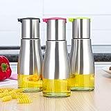 3pcs Leakproof Cooking Olive Oil Dispenser Soy Sauce Dispenser Toughened Glass Vinegar Cruet Bottles