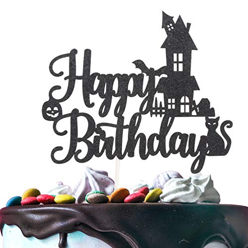 Cake Decorations For Halloween - Halloween Happy Birthday Cake Topper -