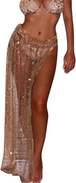 fdad355551 GRMO-Women See Through Wrap Beach Mesh Swimwear Cover up Skirt Gold US XS