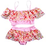 Girls Two Pieces Skirt Swimsuit Set, Floral Print Flounce Off Shoulder Tankini Tops with Skirt Bathing Suit Swimwear for Little & Big Girls, Pink,4-6 Years