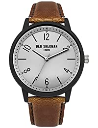 Ben Sherman Men's Quartz Watch with Grey Dial Analogue Display and Brown PU Strap WB050WT