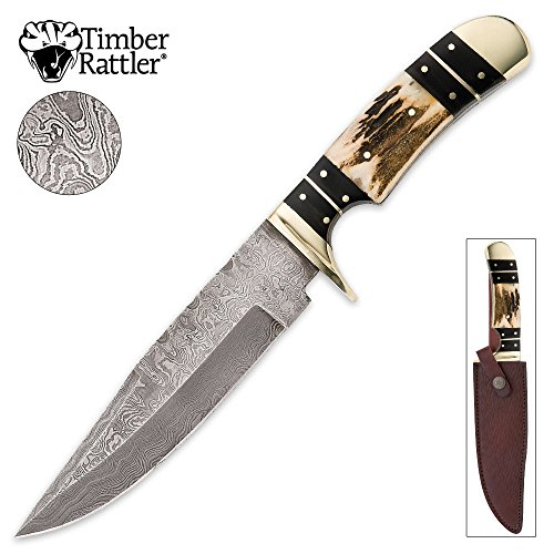Timber Rattler Colorado Hunter Damascus Knife with Genuine Leather Sheath - Genuine Stag Leather Sheath