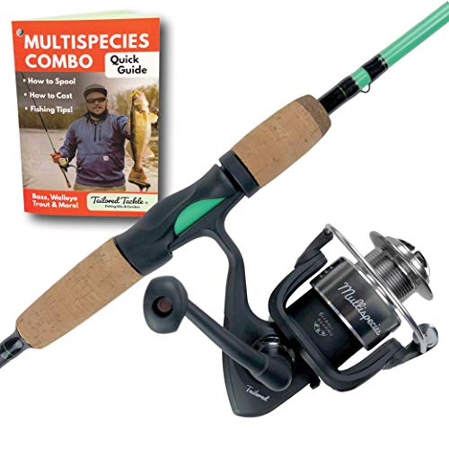 Tailored Tackle Universal Multispecies Rod and Reel Combo Fishing Pole | Freshwater & Inshore Saltwater | Poles 6 Ft 6 in Rods Medium Fast Action | Spinning Reels 7BB | Combos L & R Handed (Best Walleye Rod And Reel Combo)