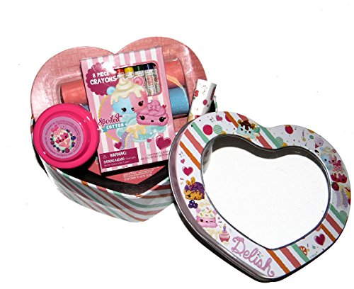 NumNoms Gift Set jumbo chalk, Crayons, YoYo, Color Sheet in a Heart Shape Metal Gift Tin