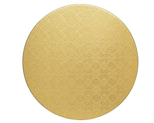 10-inch Rigid compressed cardboard reusable and biodegradable Cake Board, Cake Circle coated with embossed foil, 10-pack Cake Pads 3mm thick, a stable platform for Cake decorating (Gold)