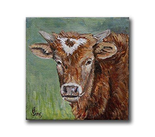 Cow Art Print, Baby Texas Longhorn Giclee, size mat option