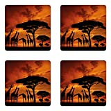 Lunarable Africa Coaster Set of Four, Safari Animal with Giraffe Crew with Majestic Tree at Sunrise in Kenya, Square Hardboard Gloss Coasters for Drinks, Burnt Orange and Black