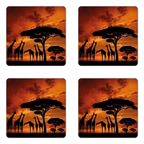 - Lunarable Africa Coaster Set of 4, Safari Animal with Giraffe Crew with Majestic Tree at Sunrise in Kenya, Square Hardboard Gloss Coasters, Standard Size, Orange Black