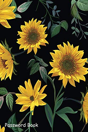 Password Book: Include Alphabetical Index With Sun Flower illustration Seamless Pattern