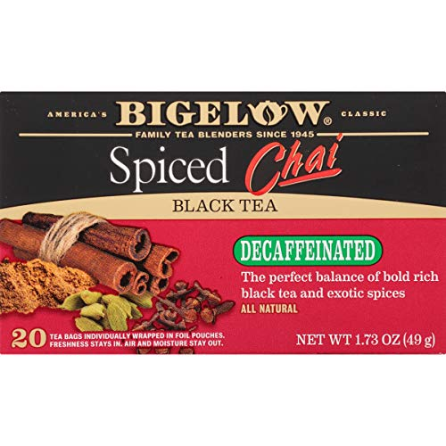 Bigelow Decaffeinated Spiced Chai Tea 20-Count Boxes (Pack of 6) Caffeinated Individual Black Tea Bags, for Hot Tea or Iced Tea, Drink Plain or Sweetened with Honey or Sugar