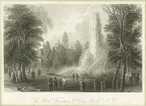 Historic Pictoric ca. 1760 Print | The park fountains & City Hall N.Y. | Vintage Wall Art | 32in x 24in
