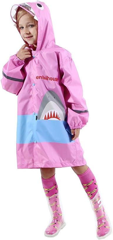 Chlid Kids Boy Girl Raincoat Rain Jacket Shark Lightweight Rainwear Rain Slicker